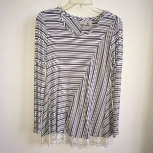 LOGO Lori Goldstein Gray Stripe Lace Trim Tunic S